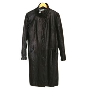 DANIER Black Insulated Duster Long Leather Coat
